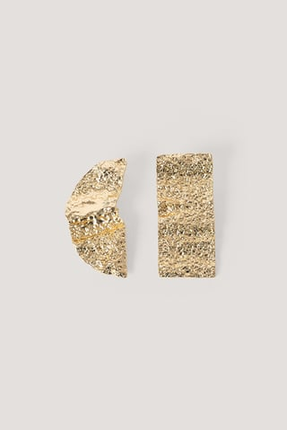 Gold Pendientes Asimétricos Forjados