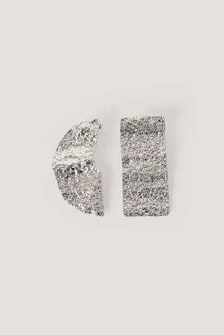 Silver Hamrade Asymmetriska Örhängen
