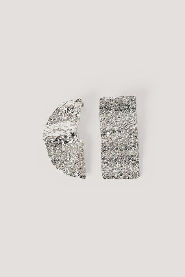 Silver Spłaszczone Asymetryczne Kolczyki