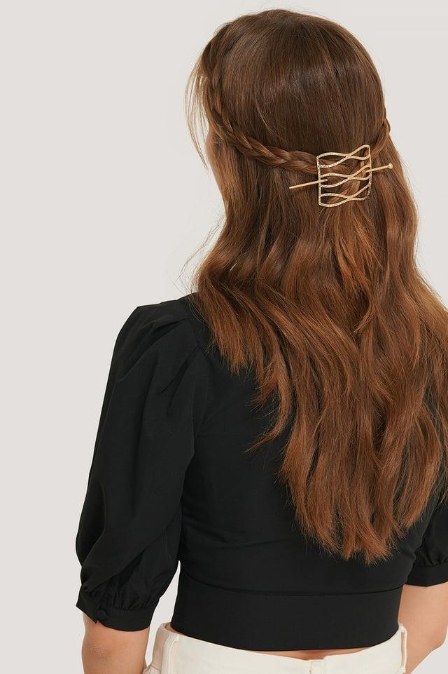 Gold Hammered Wavy Hair Pin