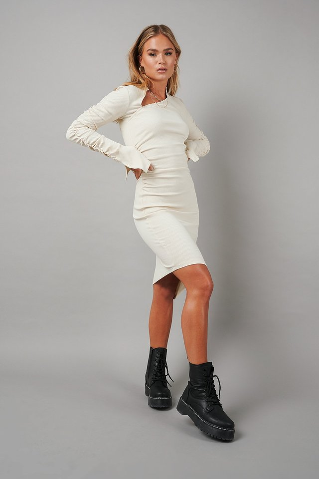 Draped Asymmetric Ribbed Dress Cream