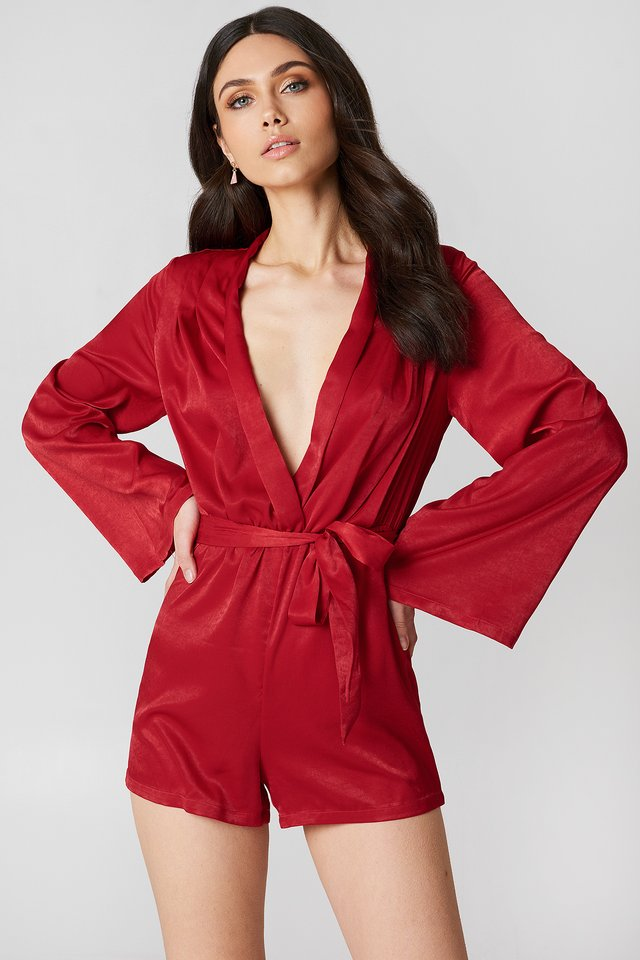 Deep V-neck Satin Playsuit Red