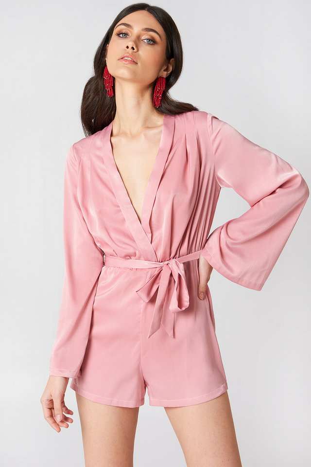 Deep V-neck Satin Playsuit Light Pink