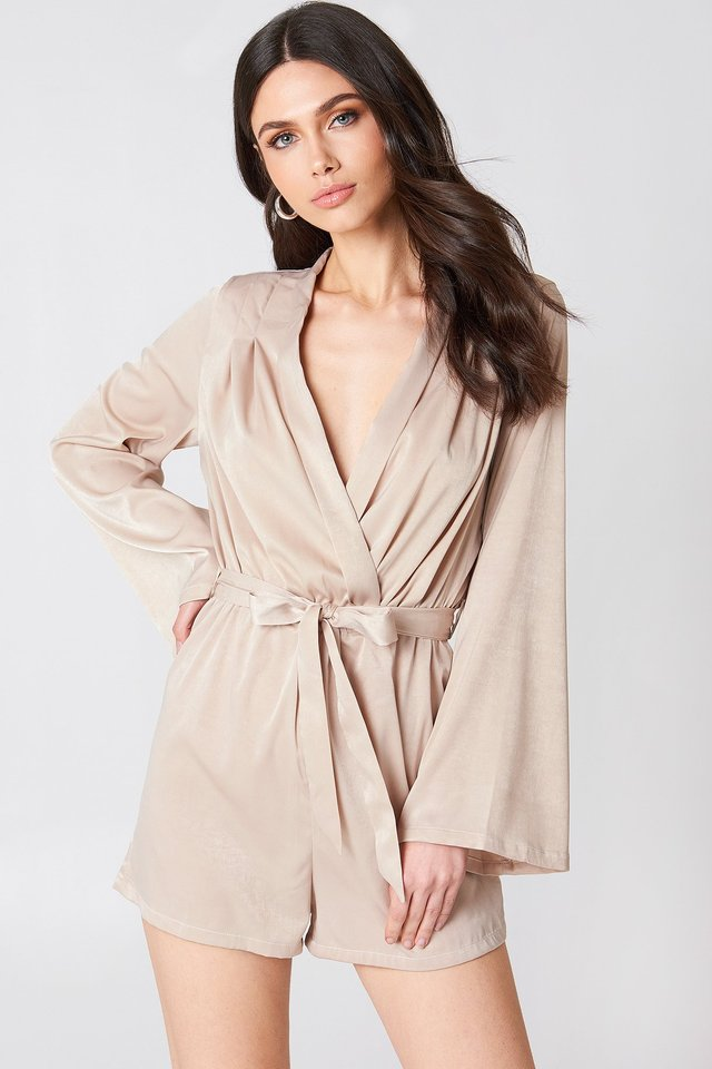 Deep V-neck Satin Playsuit Champagne