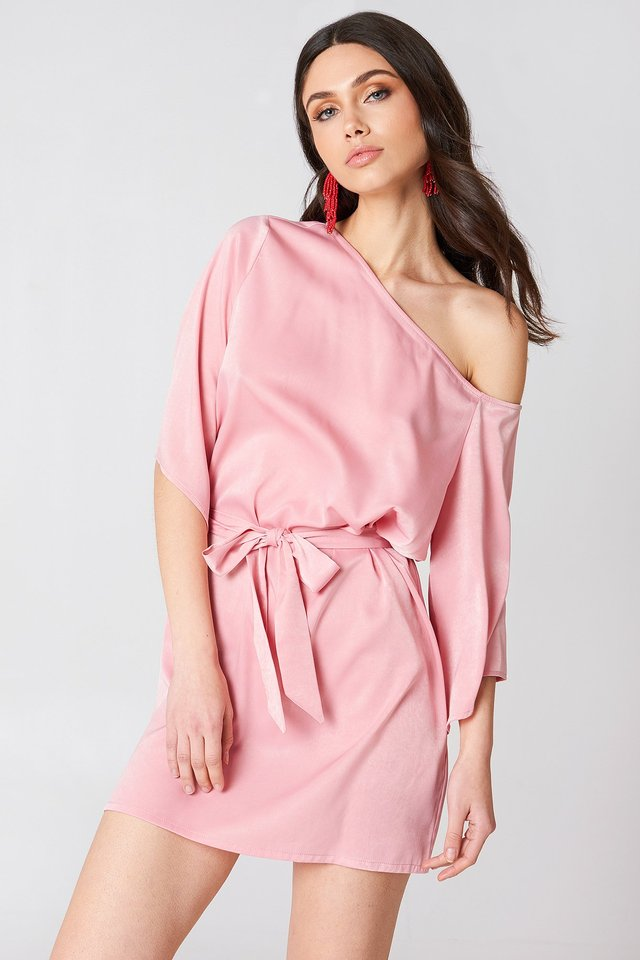 Light Pink One Shoulder Tie Waist Dress