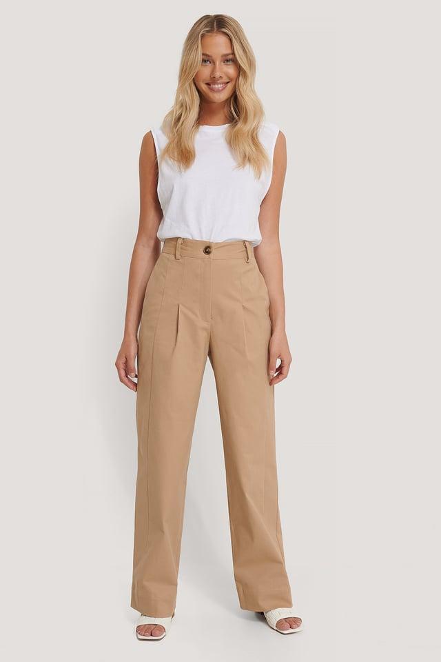 Heavy Cotton-blend Pants Beige