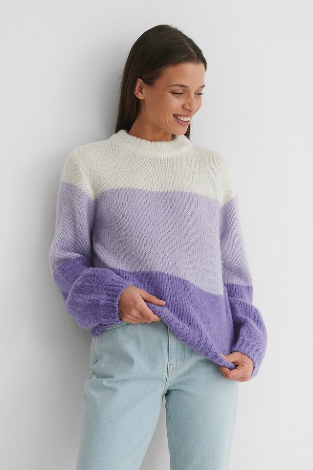 Heavy Knitted Boxy Sweater Lilac