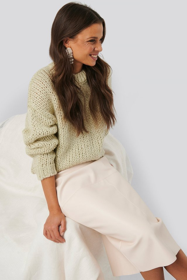 Heavy Knitted Sweater Pastel Green