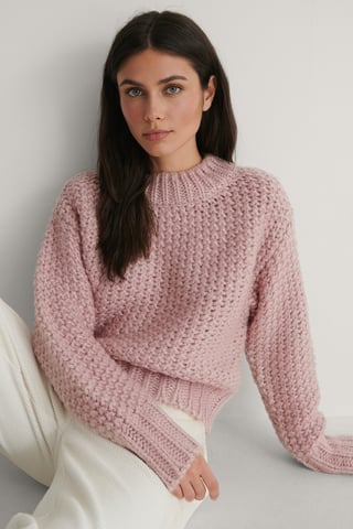 Dusty Light Pink Heavy Knitted Wide Rib Sweater