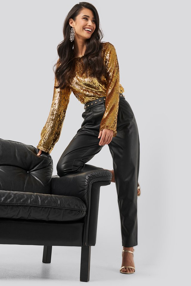 Heavy Sequin Blouse Gold