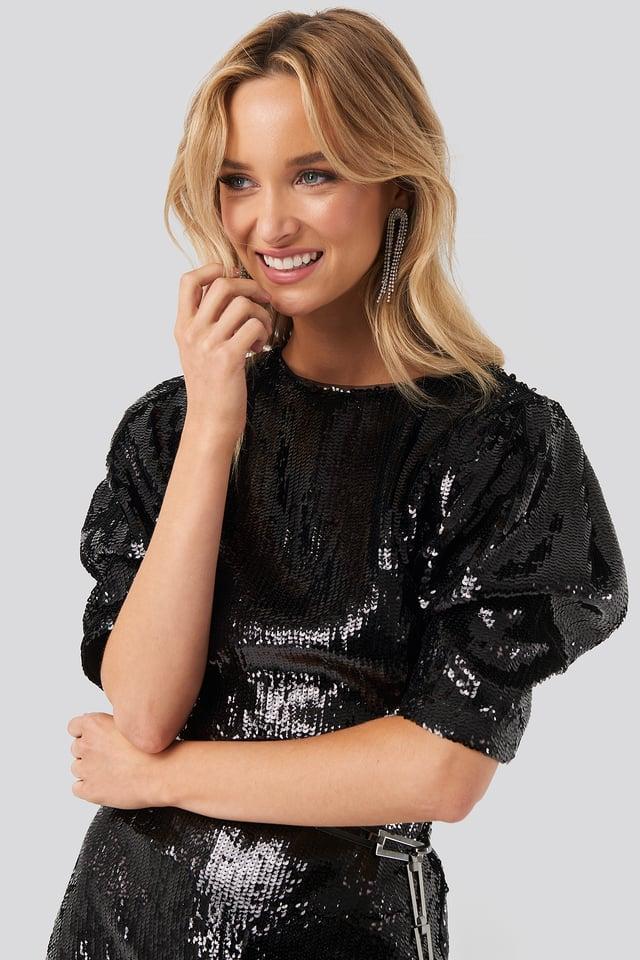 Heavy Sequin Short Puff Sleeve Dress Black
