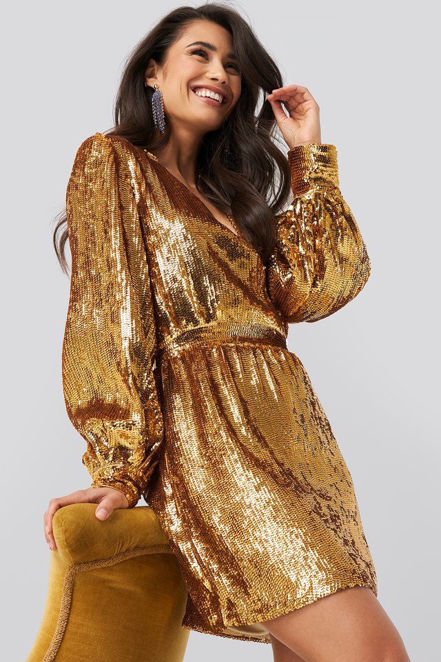 Heavy Sequin V-Neck Dress Gold