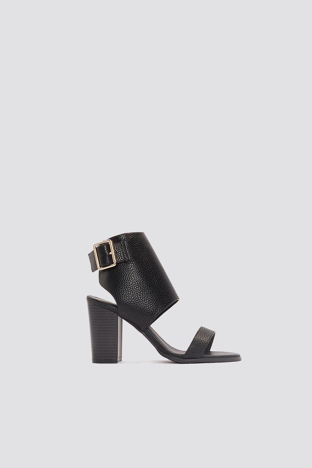 Heeled Buckle Sandals Black PU