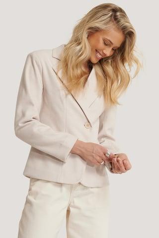 Cream Herringbone Blazer Jacket