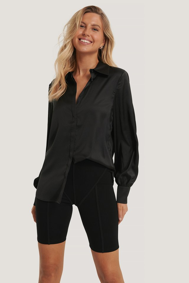 Hidden Button Shirt Black