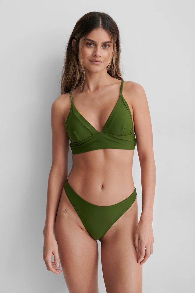 Deep Khaki Hoog Uitgesneden Bikinibroekje
