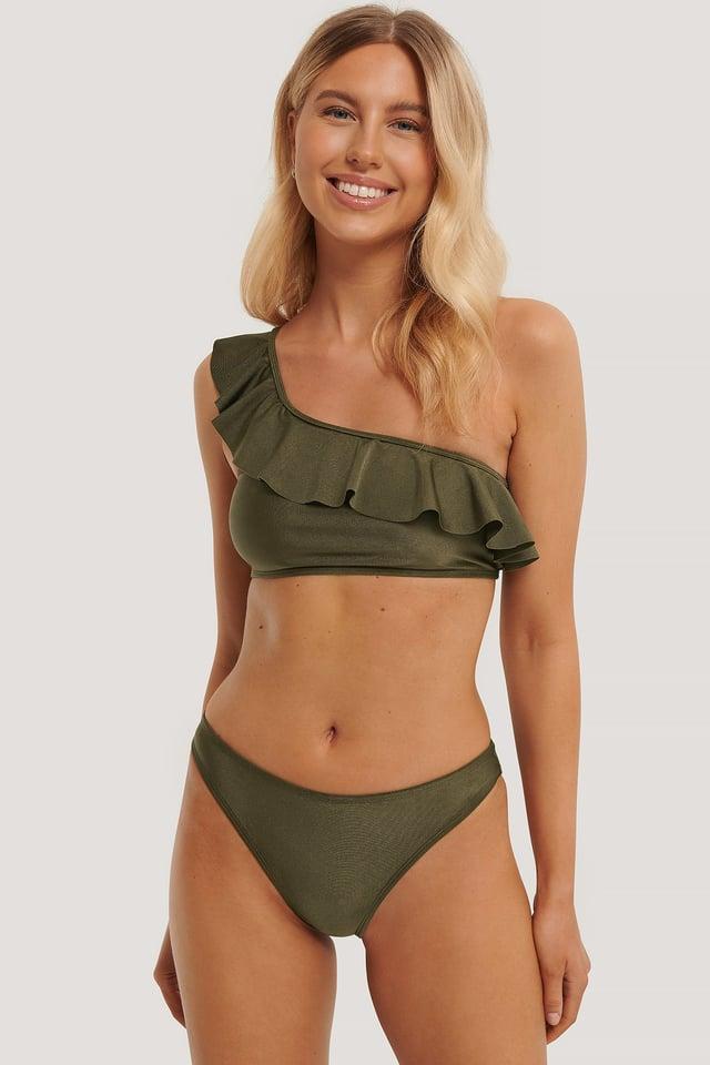Bikinitrusser Med Høj Benudskæring Khaki