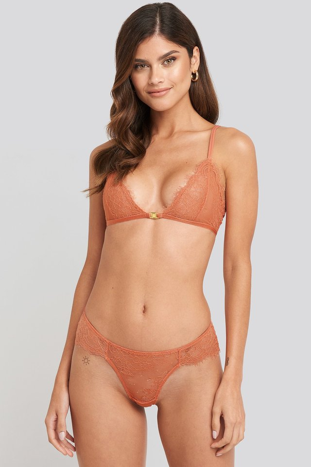 High Cut Lace Panty Pink Terracotta