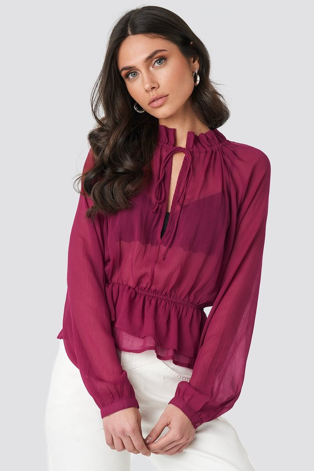 High Frill Neck Top Burgundy