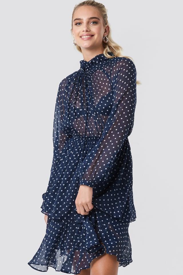 Sukienka z marszczoną stójką Blue/White Dot