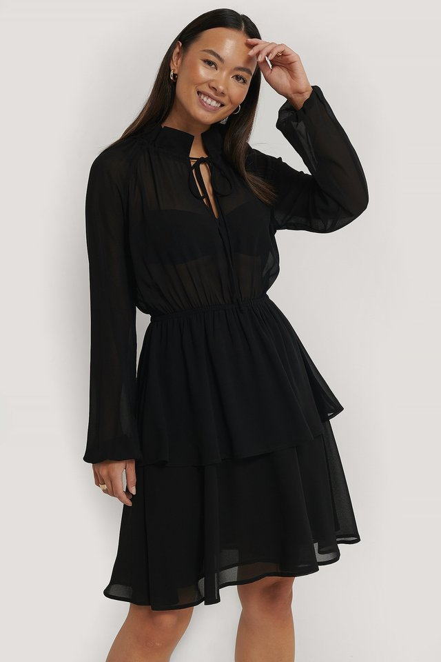 Black High Frill Neck Dress