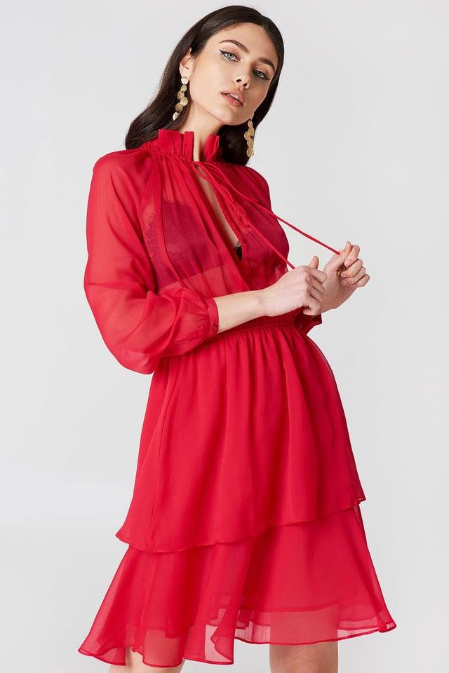 Sukienka z marszczoną stójką Red