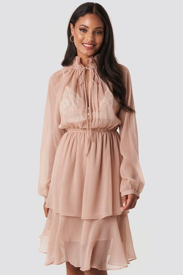 High Frill Neck Dress Powder Pink