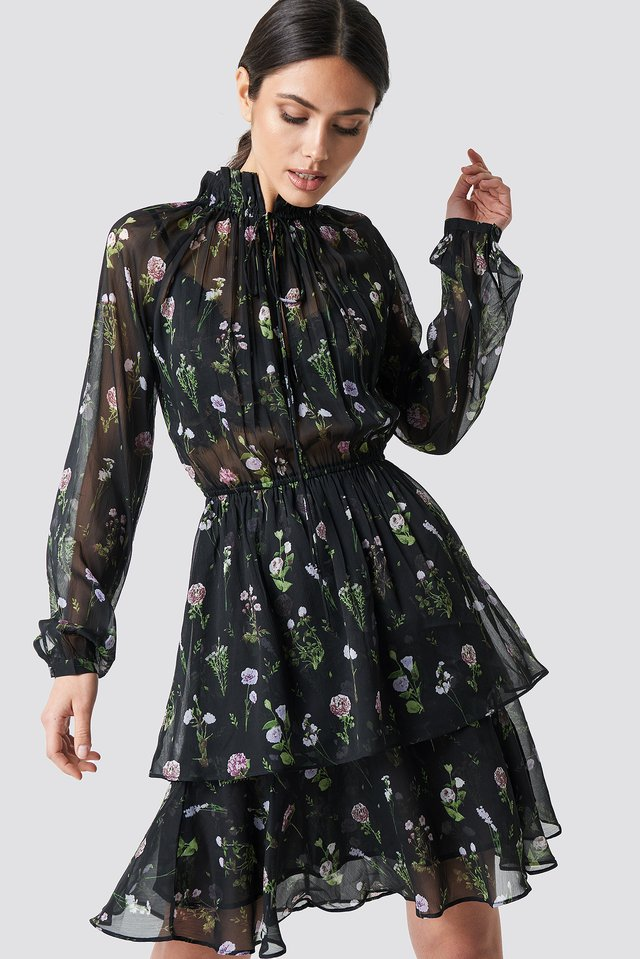 High Frill Neck Dress Black/Mixed Flowers