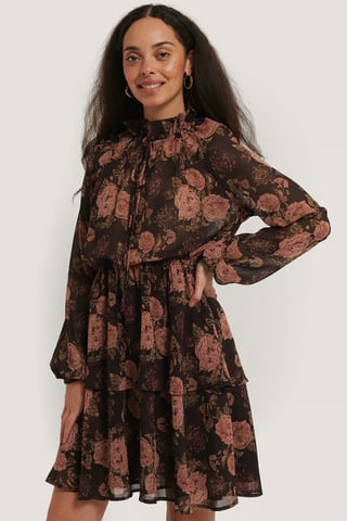 Brown/Pink Flowers High Frill Neck Dress