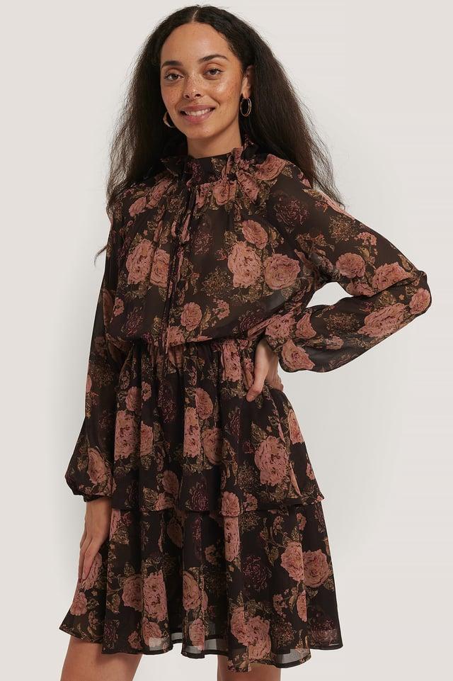 High Frill Neck Dress Brown/Pink Flowers
