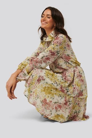 White/Mixed Flowers High Frill Neck Dress