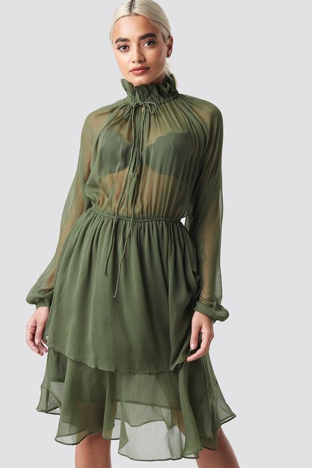 High Frill Neck Dress Khaki Green