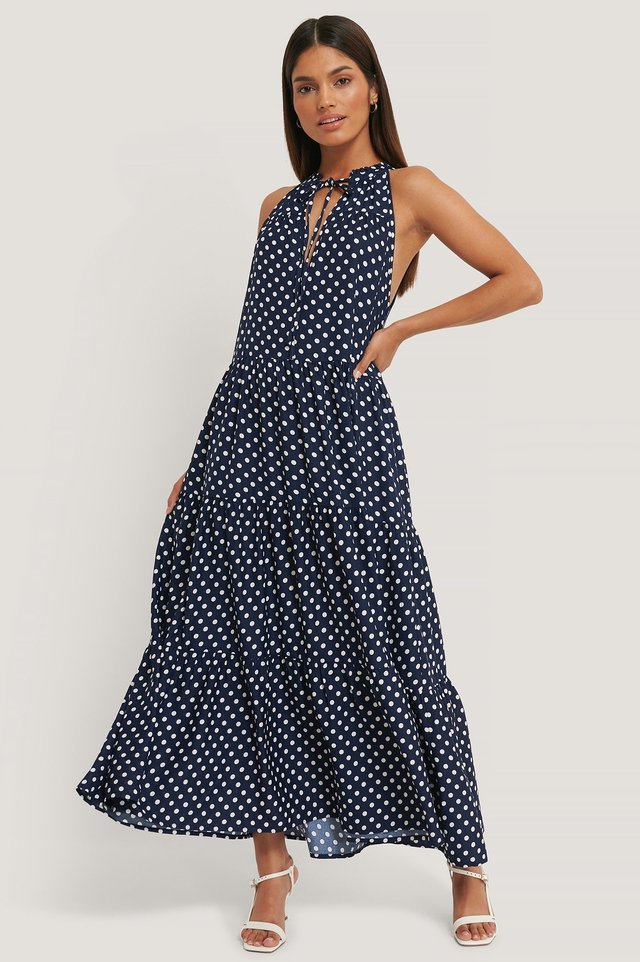 High Frill Neck Flowy Dress Blue/White Dot