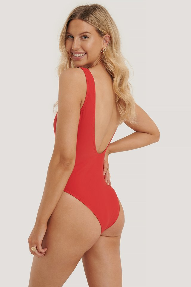 High Leg Swimsuit Red