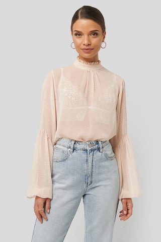 White/Pink High Neck Balloon Sleeve Blouse