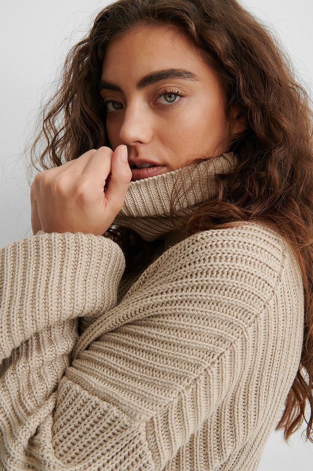 Beige Organic High Neck Balloon Sleeve Knitted Sweater