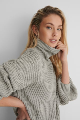 Grey Organic High Neck Balloon Sleeve Knitted Sweater