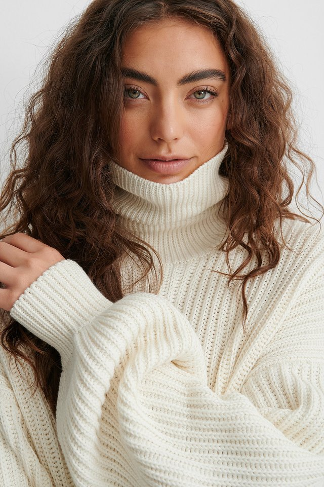 High Neck Balloon Sleeve Knitted Sweater Offwhite