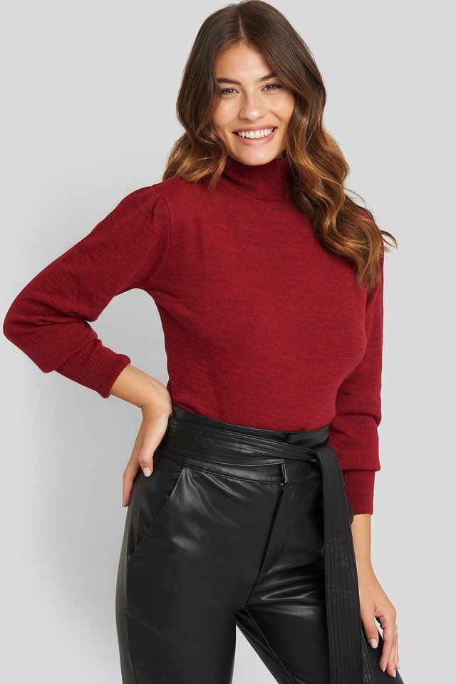 High Neck Balloon Sleeve Sweater Burgundy