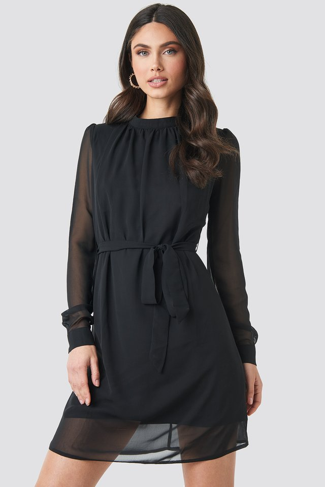 High Neck Belted Chiffon Dress Black