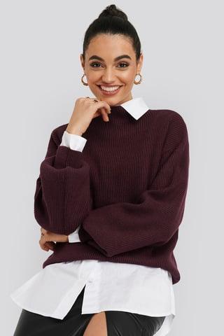 Burgundy High Neck Big Sleeve Knitted Sweater