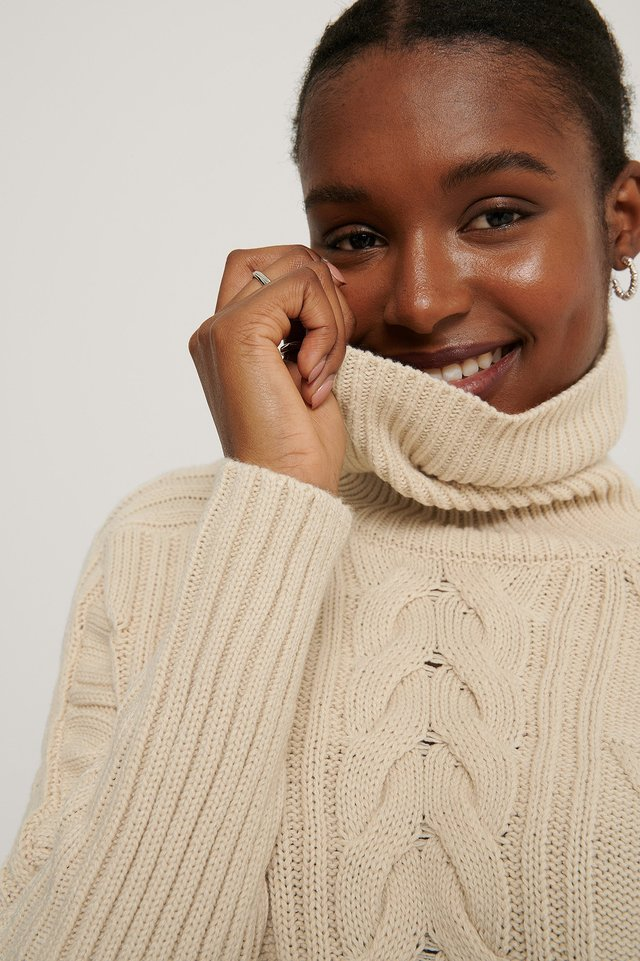 Light Beige High Neck Cable Knit Sweater