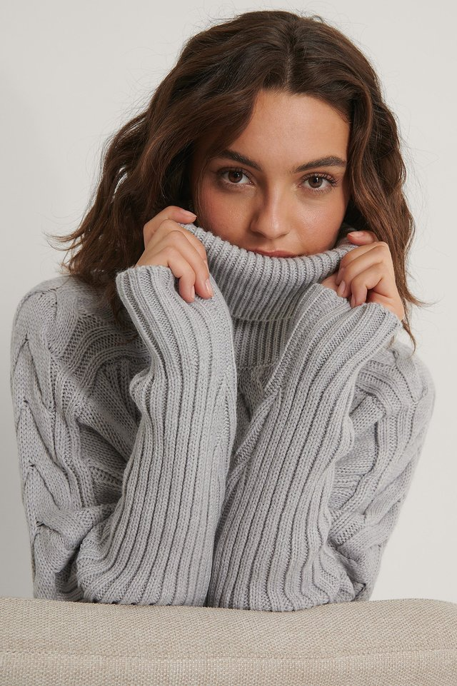 High Neck Cable Knit Sweater Grey