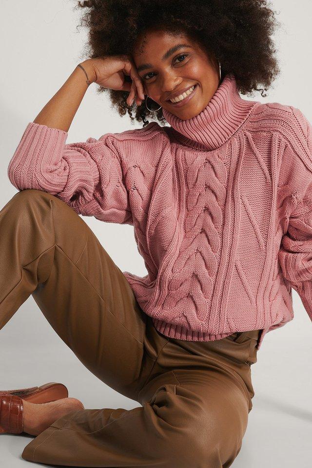 High Neck Cable Knit Sweater Dusty Rose