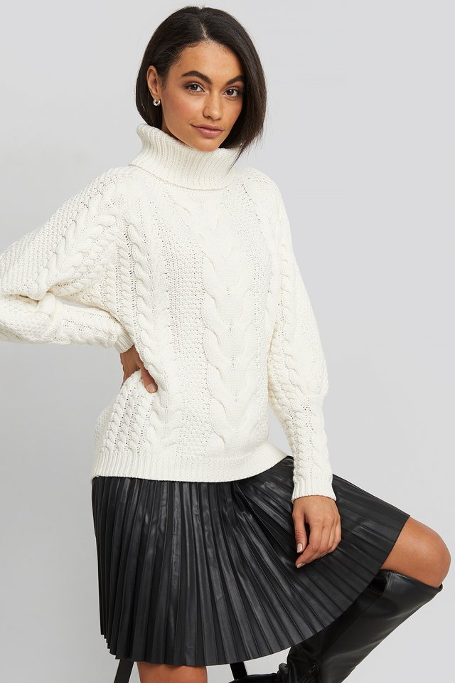 High Neck Cable Knitted Ribbed Sleeve Sweater Offwhite