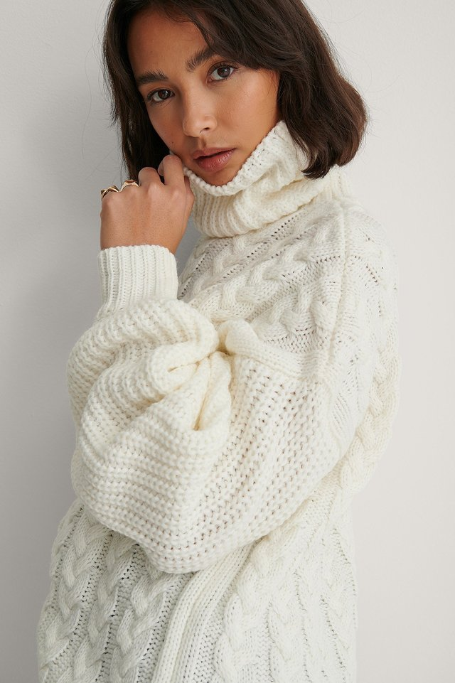 White High Neck Cable Long Knitted Sweater