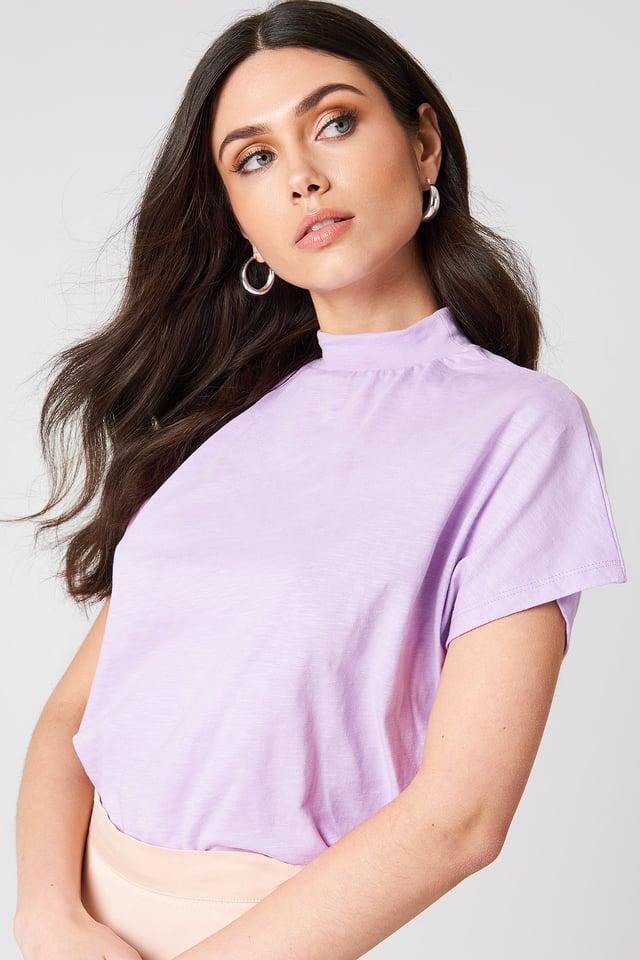 High Neck Cap Sleeve Top Lilac