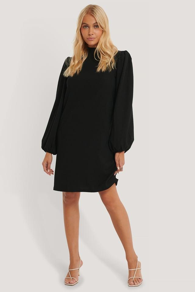 Black High Neck Crinkle Jersey Dress