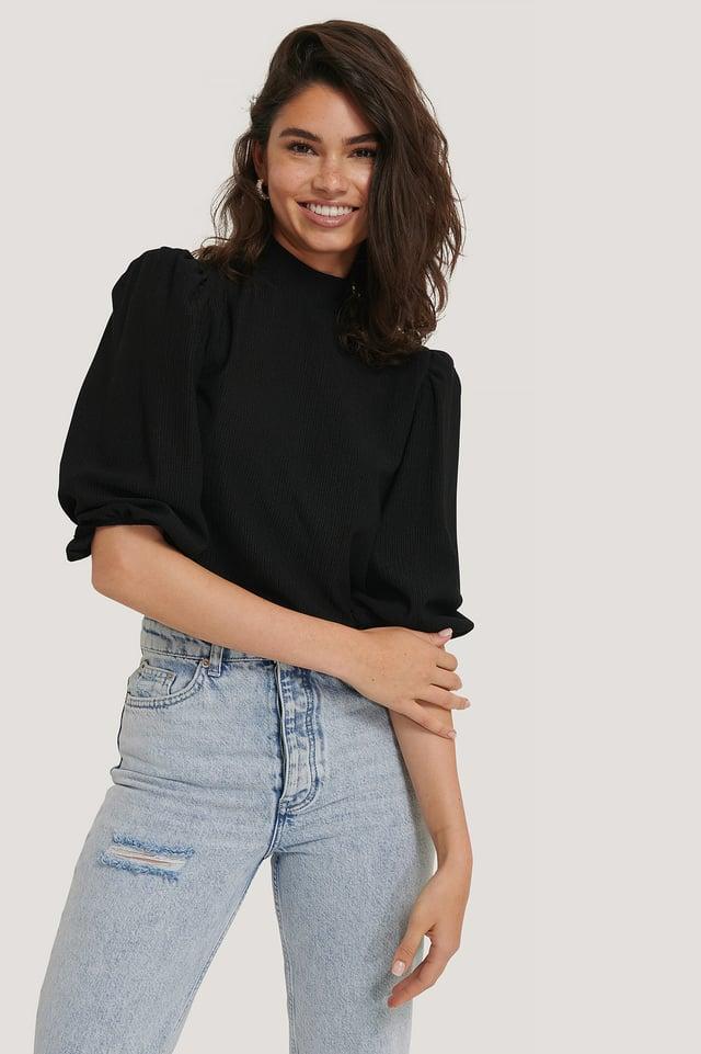 Black High Neck Crinkle Jersey Top