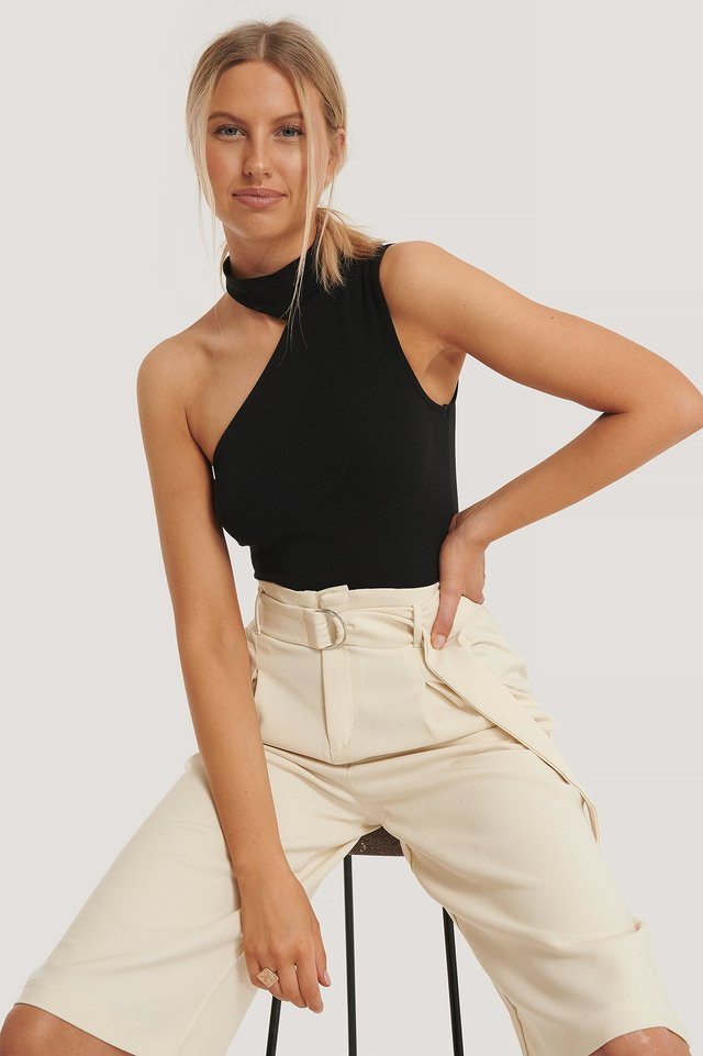 High Neck Cut Out Top Black